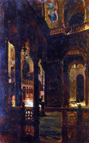 Giacomo Favretto A Church Interior - Hand Painted Oil Painting
