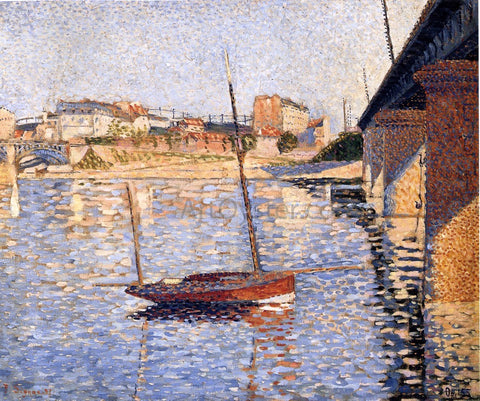 Paul Signac A Clipper, Asnieres - Hand Painted Oil Painting