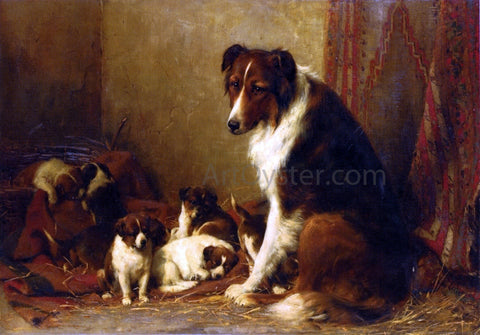 Otto Eerelman A Collie and Her Puppies - Hand Painted Oil Painting
