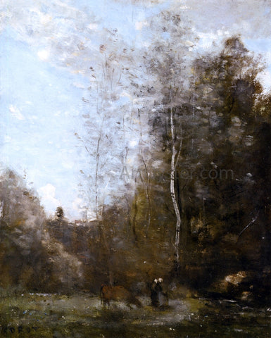 Jean-Baptiste-Camille Corot A Cow Grazing beneath a Birch Tree - Hand Painted Oil Painting