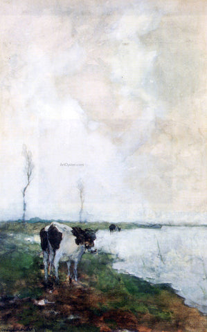 Johann Hendrik  Weissenbruch A Cow Standing By The Waterside In A Polder - Hand Painted Oil Painting