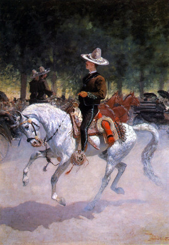 Frederic Remington A Dandy on the Paseo de la Reforma, Mexico City - Hand Painted Oil Painting