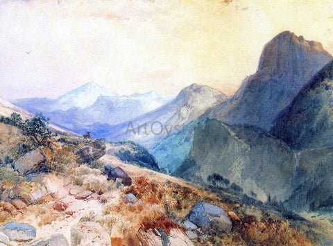 Thomas Moran A Deer in a Mountain Landscape - Hand Painted Oil Painting