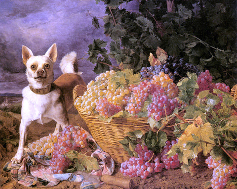 Ferdinand Georg Waldmuller A Dog By A Basket Of Grapes In A Landscape - Hand Painted Oil Painting
