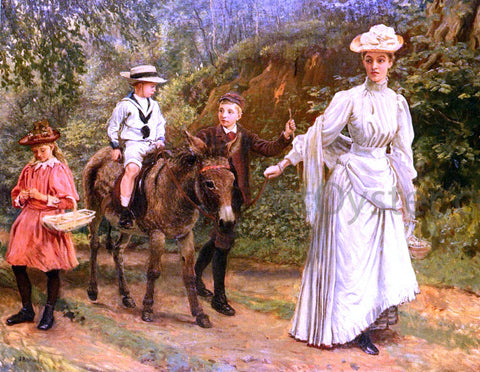 John Barwell A donkey Ride Along A Woodland Path - Hand Painted Oil Painting