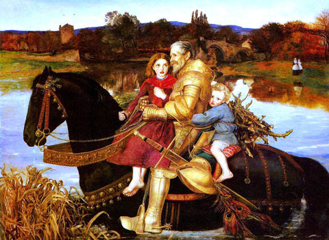 Sir Everett Millais Dream of the Past - Sir Isumbras at the Ford - Hand Painted Oil Painting