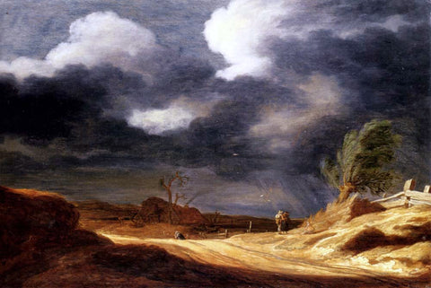 Pieter Molyn A Dune Landscape with Travellers on a Path - Hand Painted Oil Painting