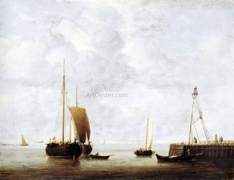 The Younger Willem Van de Velde A Dutch Hoeker at Anchor near a Pier - Hand Painted Oil Painting