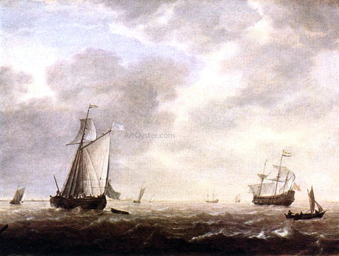 Simon De Vlieger A Dutch Man-of-war and Various Vessels in a Breeze - Hand Painted Oil Painting