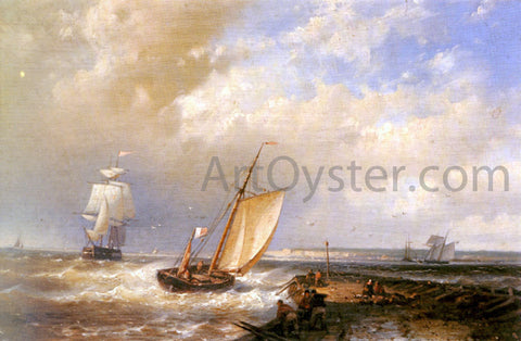 Senior Abraham Hulk A Dutch Pink Heading Out To Sea, With Shipping Beyond - Hand Painted Oil Painting
