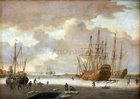 Adam Silo A Dutch Whaler and Other Vessels in the Ice - Hand Painted Oil Painting