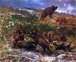 Karl Bodmer A Family of Wild Boar - Hand Painted Oil Painting