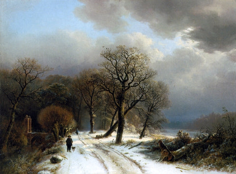 Barend Cornelis Koekkoek Figure Walking His Dog on a Path in a Winter Landscape - Hand Painted Oil Painting