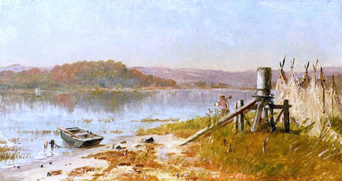 Thomas Worthington Whittredge A Fisherman's Windlass, Sketch on the Hudson - Hand Painted Oil Painting