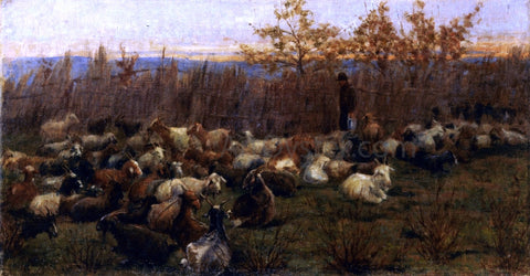 Nicolo Cannicci A Flock of Goats - Hand Painted Oil Painting