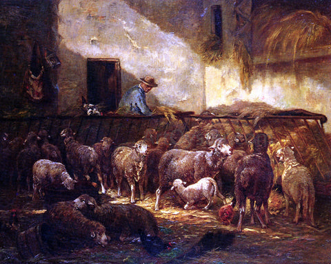 Charles Emile Jacque A Flock Of Sheep In A Barn - Hand Painted Oil Painting