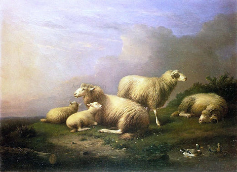 Francois Van Severdonck A Flock of Sheep Resting by a Pond - Hand Painted Oil Painting