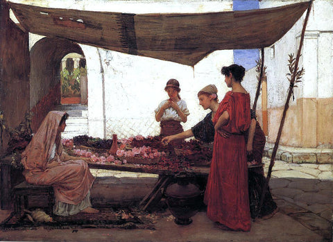 John William Waterhouse Flower Stall - Hand Painted Oil Painting
