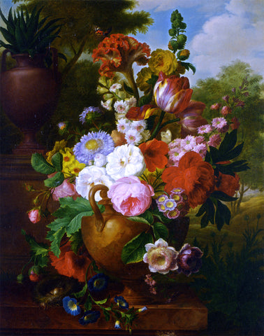 Cornelis Van Spaendonck A Flower Still Life with Roses Tulips Peonies and other Flowers in a Vase - Hand Painted Oil Painting