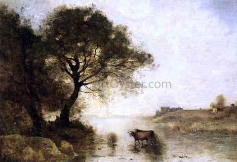 Jean-Baptiste-Camille Corot A Ford with Large Trees - Hand Painted Oil Painting