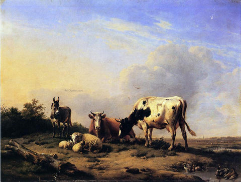 Eugene Verboeckhoven A Gathering in the Pasture - Hand Painted Oil Painting