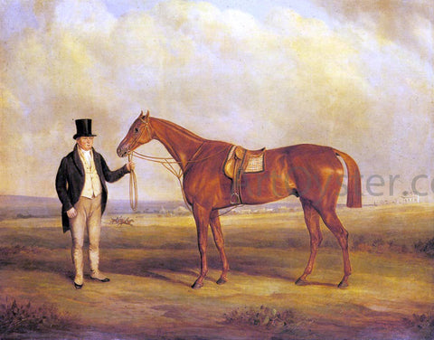 Senior John Ferneley A Gentleman Holding Dangerous, the Winner of the 1833 Derby - Hand Painted Oil Painting