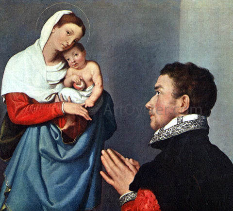 Giovanni Battista Moroni A Gentleman in Adoration before the Madonna - Hand Painted Oil Painting