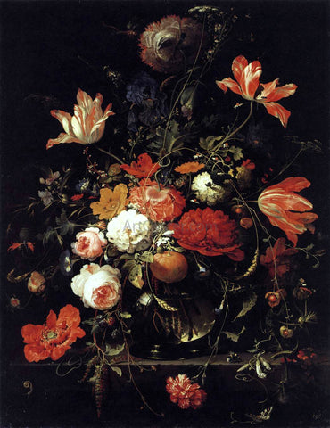 Abraham Mignon A Glass of Flowers and an Orange Twig - Hand Painted Oil Painting