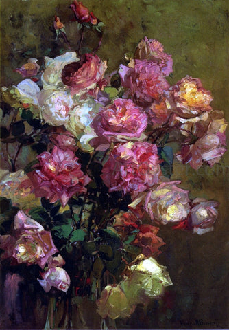 Franz Bischoff A Glass Vase full of Roses - Hand Painted Oil Painting
