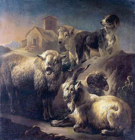 Philipp Peter Roos A Goat, Sheep and a Dog Resting in a Landscape - Hand Painted Oil Painting