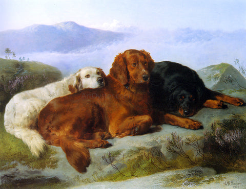 George W Horlor A Golden Retriever, Irish Setter, and a Gordon Setter in a Mountainous Landscape - Hand Painted Oil Painting