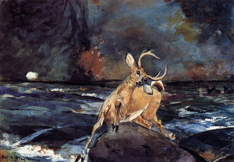 Winslow Homer A Good Shot, Adirondacks - Hand Painted Oil Painting