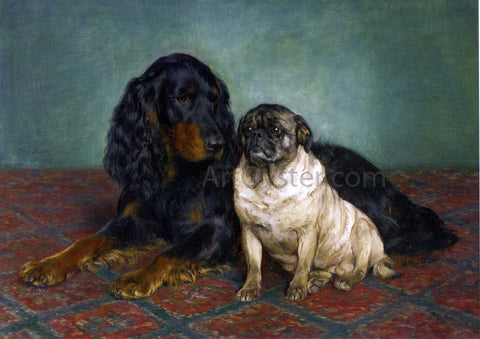 Otto Bache A Gordon Setter and a Pug - Hand Painted Oil Painting