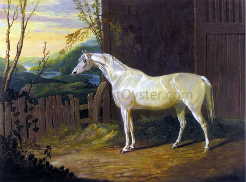 Sr. John Frederick Herring A Gray Arab Mare outside a Stable in an Extensive River Landscape - Hand Painted Oil Painting