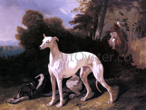 Alfred De Dreux A Greyhound in an Extensive Landscape - Hand Painted Oil Painting