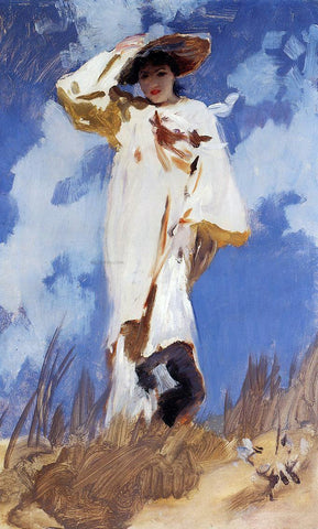 John Singer Sargent A Gust of Wind (also known as Judith Gautier) - Hand Painted Oil Painting