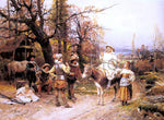 Cesare-Auguste Detti A Halt Along the Way - Hand Painted Oil Painting