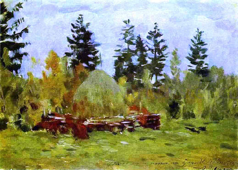 Isaac Ilich Levitan A Haystack Study - Hand Painted Oil Painting