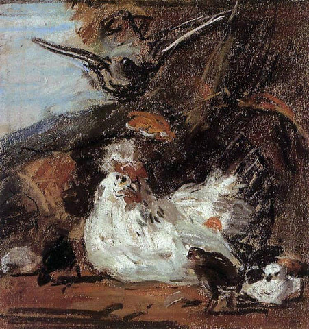 Eugene-Louis Boudin A Hen and Her Chicks (after Melchior d'Hondecoeter) - Hand Painted Oil Painting