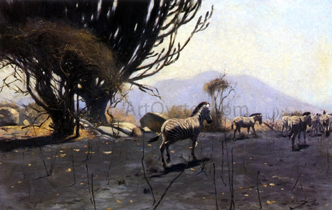Wilhelm Kuhnert A Herd of Zebras - Hand Painted Oil Painting