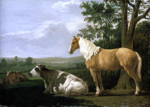 Abraham Van Calraet A Horse and Cows in a Landscape - Hand Painted Oil Painting
