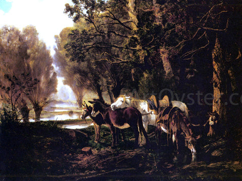 Giuseppe Palizzi A Horse and Donkeys Awaiting the Faggot Gatherer - Hand Painted Oil Painting