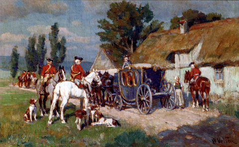 Wilhelm Velten A Hunting Party Ready For The Off - Hand Painted Oil Painting
