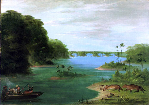 George Catlin A Jaguar Hunt, Brazil - Hand Painted Oil Painting