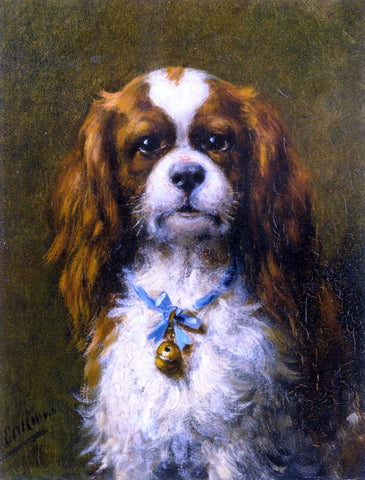 Otto Eerelman A King Charles Spaniel with a Blue Ribon - Hand Painted Oil Painting