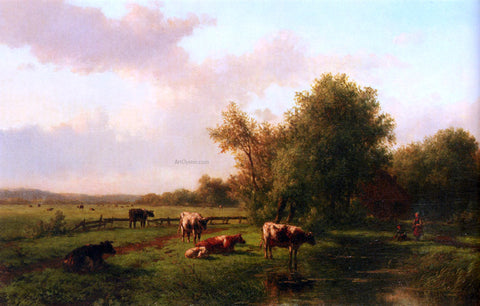 Willem Vester A Landscape With Cows On A Riverbank, A Farm Beyond - Hand Painted Oil Painting