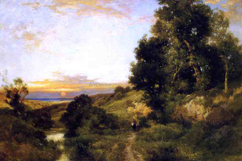 Thomas Moran A Late Afternoon in Summer - Hand Painted Oil Painting