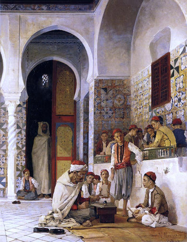 Numa Marzocchi De Belluci A Lesson in the Koran - Hand Painted Oil Painting