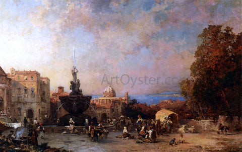 Franz Richard Unterberger Market in Naples - Hand Painted Oil Painting