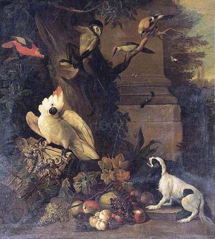 Tobias Stranover A Monkey, a Dog and Various Birds in a Landscape - Hand Painted Oil Painting
